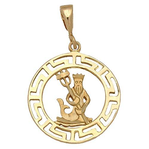 Minoplata Colgante Horóscopo Acuario de Oro 18 KL. una Joya Ideal para Regalar a Hombres o Mujeres Nacidas bajo Este Signo del Zodiaco