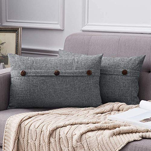 MIULEE Button Cross Shape Faux Linen Square Throw Pillow Case Cushion Cover Home for Sofa Chair Couch Bedroom Decorative Pillowcase Gray 12 x 20 inch 30cm x 50cm