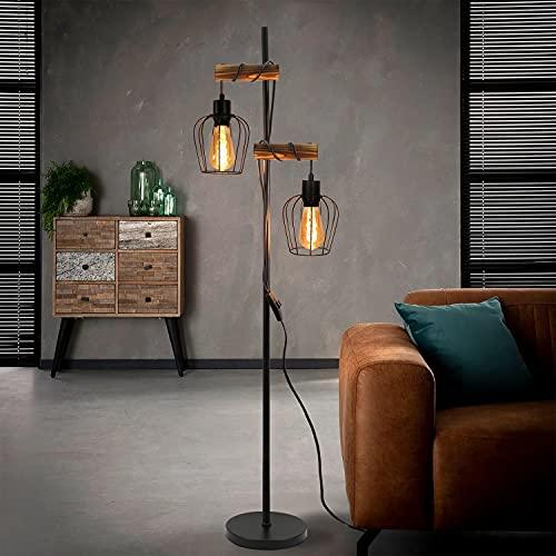 ZMH Lámpara de pie vintage para salón, 2 focos, de madera, diseño industrial de metal y madera, incluye interruptor, color negro, casquillo E27, altura: 163 cm, sin bombilla.
