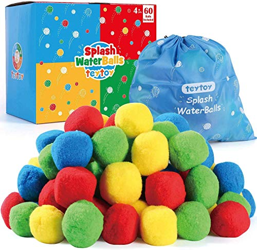 teytoy My First Water Balls Fight, Splash Water Balls with Bag for Kids & Adults Anytime ,Pool and Beach Fun Party Favors Toys Perfect for Outdoor Play Activity (60 Pack)