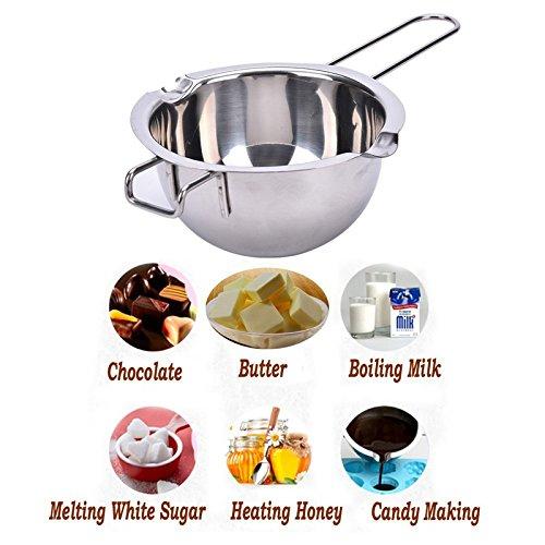 Yiyu 1pc Casserole de Bain-Marie en INOX, Cuisson du Pot de Chauffage, pour Faire Fondre du Beurre, du Chocolat, du Sucre ou du Fromage, du Lait