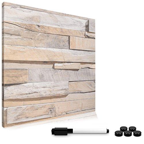 Navaris Tableau magnétique 40 x 40 cm - Tableau mémo aimanté effaçable pour Mur Cuisine Salon Chambre Bureau - avec 5X Aimant et 1x marqueur Noir