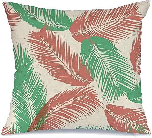 Funda de Cojine Throw CojínColores Bosque Botánico Tropical Palmera Puntiagudo Vintage Árbol Hojas Aloha Simple Vacaciones Flora Planta Fundas para almohada 45X45CM