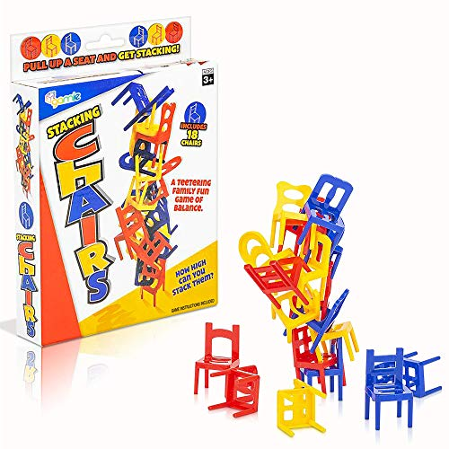 Gamie Balancing Chair Game, 2 Sets, Stacking Chair Games with 18 Mini Chairs & Instruction Guide,...
