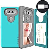 SKINU LG V20 Case, V20 Card Case, [USB Type C] [Teal] [Dual Layer] [Card Slot] [Drop Protection] [Wallet] with Mirror and Adapter for LG V20 - Teal