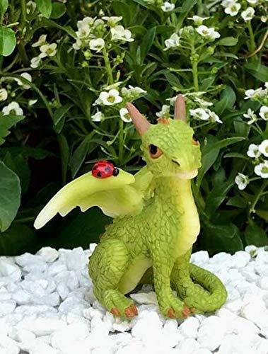 UNAMY ST Miniature Dollhouse Fairy Garden   Figurine Mini Green Dragon with Ladybug   Yard, Garden, Ornaments, Statues by UNAMY ST