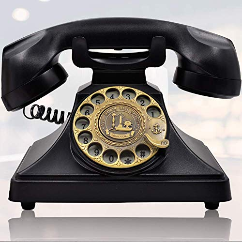 IRISVO Rotary Dial Telephone Retro Old Fashioned Landline Phones with Classic Metal Bell,Corded Phone with Speaker and Redial Function for Home and Decor(Classic Black) (Renewed)