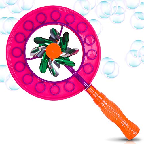 ArtCreativity Windmill Bubble Wand, 15.5 Inch Bubble Blower and Pinwheel Spinner for Kids with Solution in Handle, Outdoor Activity for Summer and Backyard Fun, Best Gift for Boys and Girls
