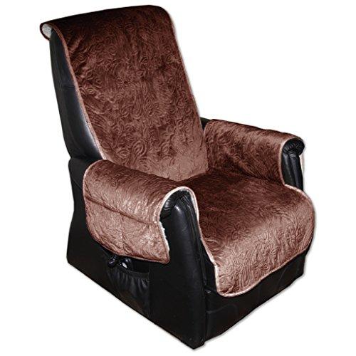 Sesselschoner Polsterschoner Sesselauflage Überwurf gesteppt, Größe ca.: 160 x 150 - Farbauswahl: braun - Dunkelbraun