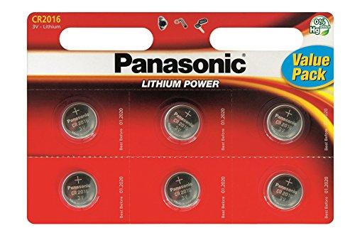 Panasonic CR2016 Lithium-Knopfbatterien, 12 Stück
