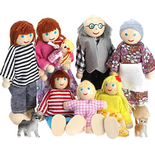 10 Familiares de Madera de Casa de Muñecas Juego de 8 Minifiguras de Personas y 2 Mascotas, Muñecas de Madera Figuras Familiares de Juego de Simulación Accesorios Juguetes para Pretender