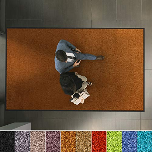 etm Hochwertige Fußmatte   schadstoffgeprüft   bewährte Eingangsmatte in Gewerbe & Haushalt   Schmutzfangmatte mit Top-Reinigungswirkung   Sauberlaufmatte waschbar & rutschfest (60x90 cm, Braun)