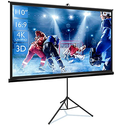 Projector Screen with Stand 110 inch 16:9 HD 4K Portable Outdoor Projector Screen Movie Screens for Projectors Movie Projector Screen for Outdoor Use with Tripod Stand for Office,Home Theater