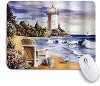 KAPANOUマウスパッド 風景海岸の海岸灯台海の波でのセーリングボート木製の椅子とビーチでの鳥アートプリント ゲーミング オフィ良い 滑り止めゴム底 ゲーミングなど適用 マウス 用ノートブックコンピュータ