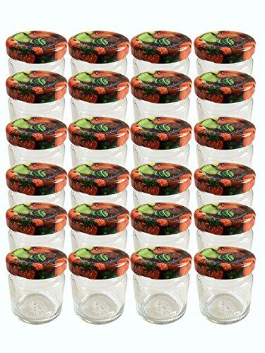 Hocz voorraadpotten, 20 inmaakpotjes met schroefdeksel, 53 ml, dekselkleur fruit tot 43 weckpotten, jampotten, inmaakpotten, kruidenpotjes, dessertpotjes, twist off glazen honingpotjes, schroefpotjes, bewaarpotjes, ronde potjes