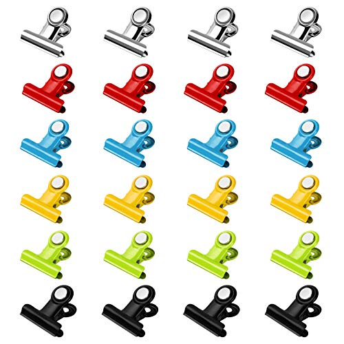 SMARTAKE 24Pack Magnetic Clips ScratchFree Magnetic Metal Hooks Clips Portable Refrigerator Magnets Clips Whiteboard Magnetic Clips for Kitchen Office Organization amp Decorating MultiColor