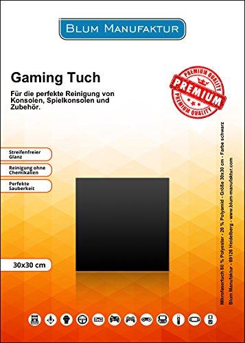 Blum - Game Cleaner 30x30 cm Mikrofasertuch schwarz - Perfekte Reinigung von Controller/Konsolen/Spielautomaten/Spielkonsolen/Videospiele/VR-Brille und Zubehör