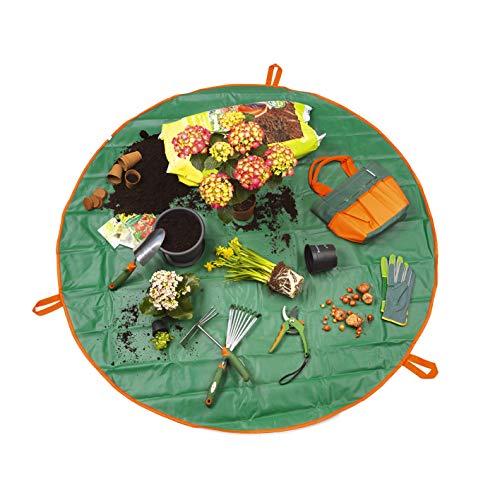 Prima Garden plantes Sous-main et ustensiles Sac 2 en 1 | Tapis & Sac résistant | fermetures Éclair & Courroie | qualité premium | Ø 148 cm (ouvert) - Vert