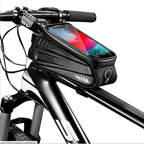 DTKJ Bolsa de bicicleta Ciclismo Teléfono Frontal Marcos Bolsa Impermeable Bicicleta Soporte de Teléfono Funda de Teléfono Compatible con iPhone 11 Plus XS