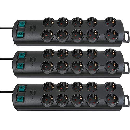Brennenstuhl Primera-Line, Steckdosenleiste 10-Fach (Steckerleiste mit 2 Schaltern für je 5 Steckdosen und 2m Kabel) Farbe: schwarz (3 Stück)