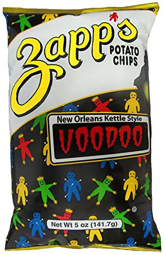 Zapp's New Orleans Kettle Style Potato Chips 5oz Bags (Pack of 4) (Voodoo)