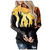 NHNKB Sudadera con capucha para mujer, diseño de Halloween, D amarillo., XL