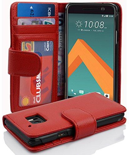 Cadorabo Hülle für HTC 10 (One M10) in Inferno ROT – Handyhülle mit Magnetverschluss & 3 Kartenfächern – Hülle Cover Schutzhülle Etui Tasche Book Klapp Style