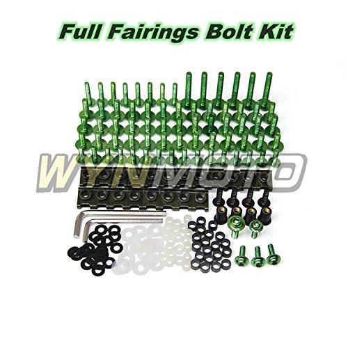 WYNMOTO Full Fairings Bolt Kits For Suzuki GSXR600 GSXR750 1996 1997 1998 1999 gsxr-600 gxsr-750 96 97 98 99 Aluminum Fasteners Cowlings Screws Hardware Clips (Green)