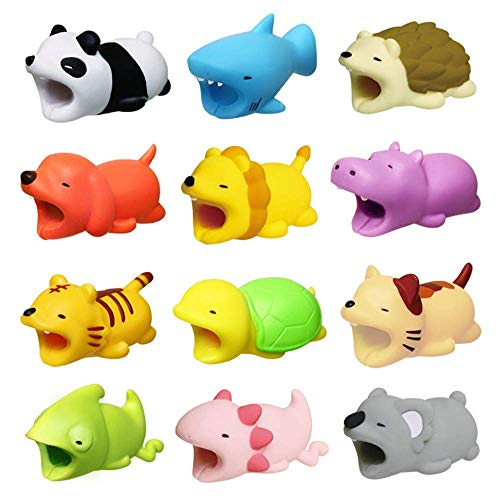 Cable Bite, 12 pcs Protector de Cable USB Cable Protector Animal Carga Cables Accesorio de teléfono Diseño de Animales Universal Electronics Accessories para Teléfono/Apple/iPhone/iPad(12 Pcs)
