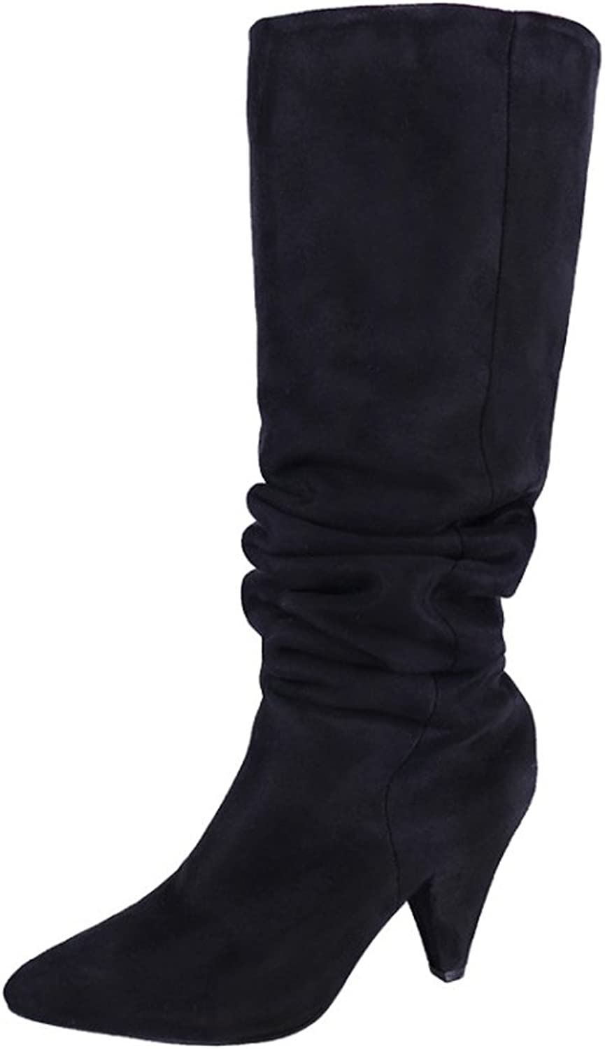 Mtzyoa Women Thigh High Boots Over The Knee Wide Calf Block Pointed Toe Loose Boot