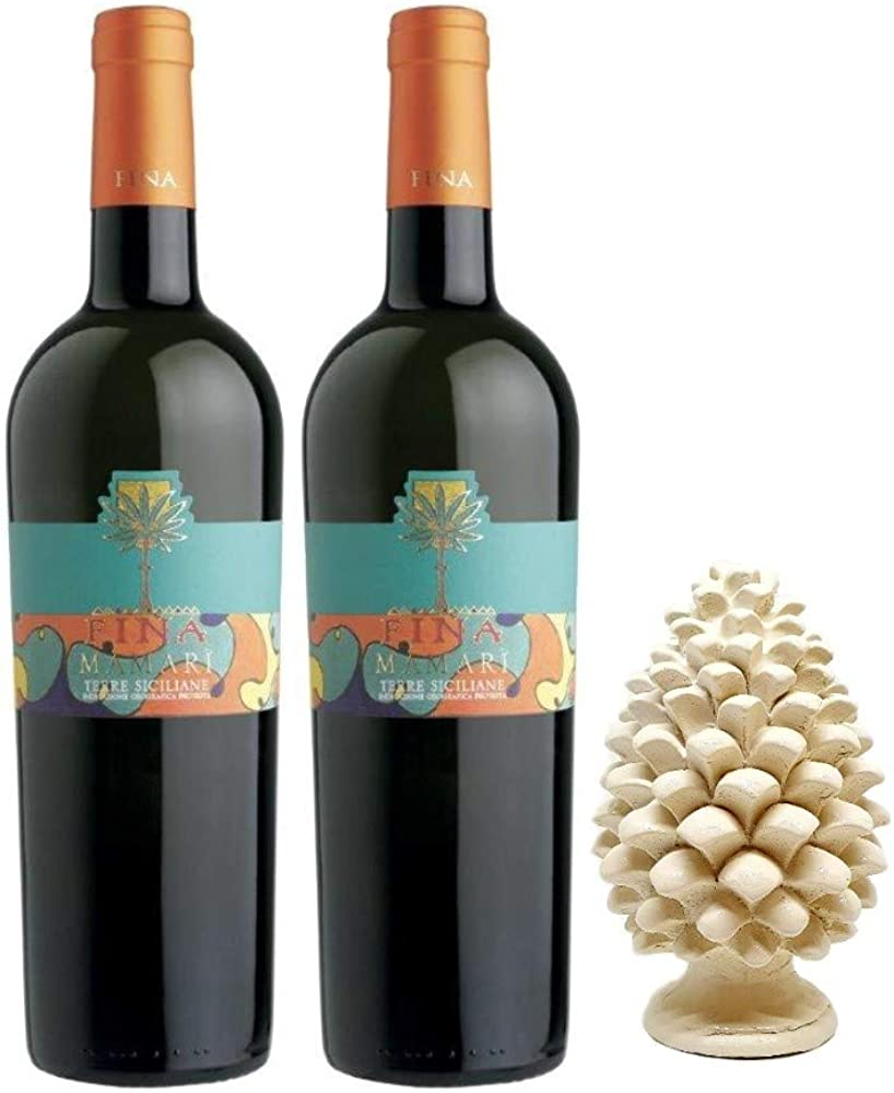 Sicilia bedda - cantine fina - 2 bottiglie di vino bianco mamari`, piu` pigna siciliana in ceramica 12 cm