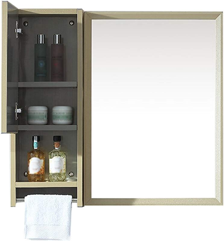 HGXC Bathroom Mirror HD Stainless Steel Edging Square Makeup Mirror Storage Mirror Cabinet Champagne 75 70cm Mirror Color A Size 7570cm