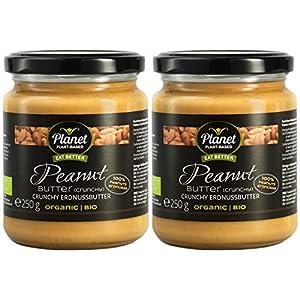 Mantequilla de maní (crujiente), 2 frascos (2x250g), orgánica, vegana, sin gluten. Sin aditivos, sin azúcar. Crema natural de cacahuetes