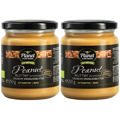 Planet Plant-Based Bio Erdnussbutter Crunchy 2er Pack (2x250g) Aus 100% Bio-Erdnüssen, Ohne Zusatzstoffe, Vegan, Glutenfrei, Ohne Zusatz Von Zucker - Extra Cremig mit Erdnuss stückchen