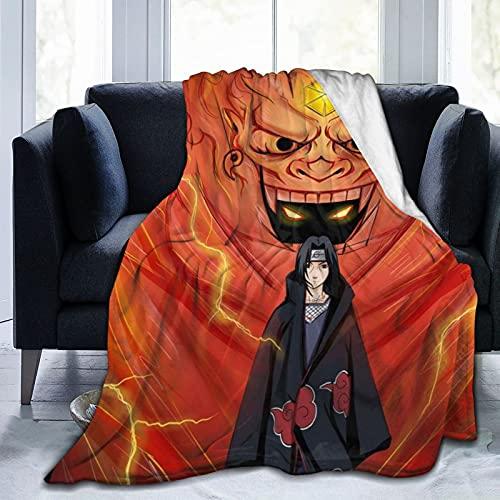 Naruto Anime Manta Uchiha Itachi Franela Manta Anti-Pilling Super Suave Manta de Microfibra se Puede Lavar, Adecuada para Adultos y Niños Durante Cuatro Estaciones 100x130CM