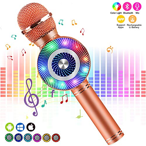 FISHOAKY Karaoke Microphone, Kids Bluetooth Karaoke Machine Portable Mic Player Speaker with LED for Christmas Birthday Home Party KTV Outdoor
