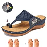 LLGHT Sandalias Bordadas para Mujer Zapatillas de Ocio, Tacón de Cuña para Mujer Cómodas Chanclas Ortopédicas, Chancletas con Punta de Clip, Vintage Summer Beach Travel (Size : 36)