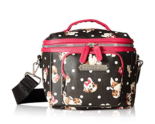 Betsey Johnson Puppies Print Lunch Tote Black/Fuchsia One Size
