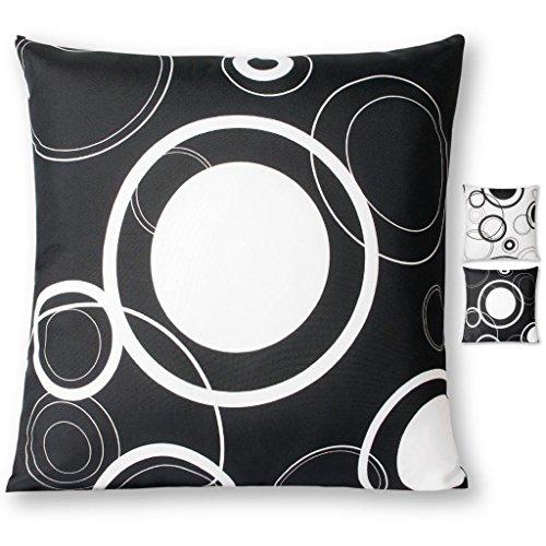 Kissenhülle Kissenbezug mit Reißverschluss für Dekokissen Malisa Auswahl: 40x40cm Schwarz mit weißen Kreisen