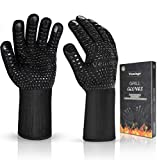 BBQ Gloves 1472°F Extreme Heat Resistant Ov Grill Gloves Heat Proof/Fireproof Gloves Oven Mitts...