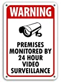 Warning Premises Monitored By 24 hour Video surveillance signs cctv camera 10' x 14' Surveillance Yard Sign Rust Free Outdoor Waterproof Fade Resistant UV Protective Ink Video Surveillance Security