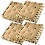 Gräfenstayn® Set de 4 Cojines, Cojines para Silla de 40 x 40 x 8 cm para Interior y Exterior de 100% algodón cojín Acolchado/cojín para el Suelo (Beis)