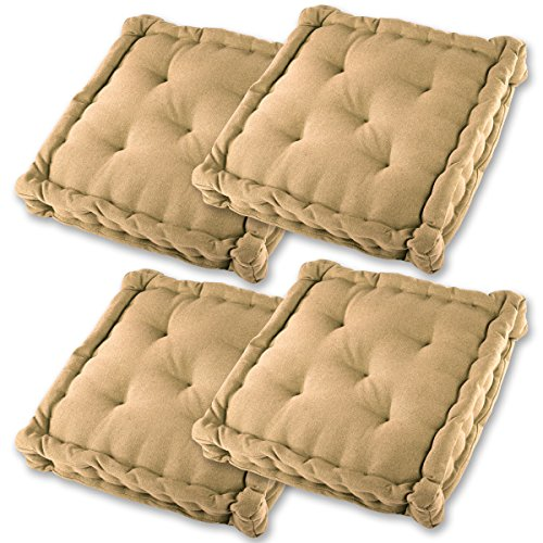 Gräfenstayn® 4er-Set Sitzkissen Stuhlkissen 40x40x8cm für Indoor und Outdoor aus 100% Baumwolle Dicke Polsterung Steppkissen/Bodenkissen (Beige)
