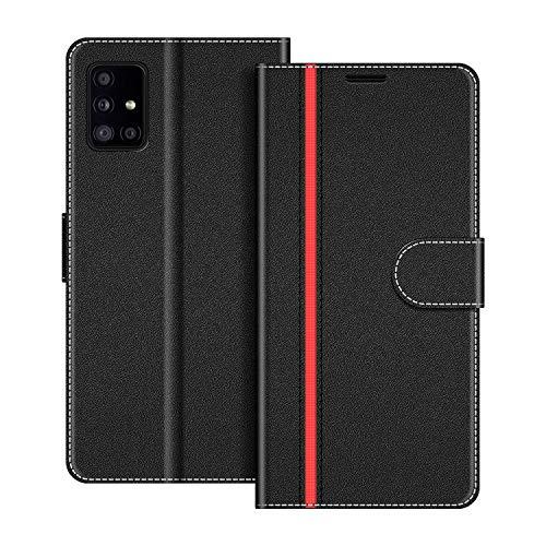 COODIO Funda Samsung Galaxy A51 5G con Tapa, Funda Movil Samsung A51 5G, Funda Libro Galaxy A51 5G Carcasa Magnético Funda para Samsung Galaxy A51 5G, Negro/Rojo