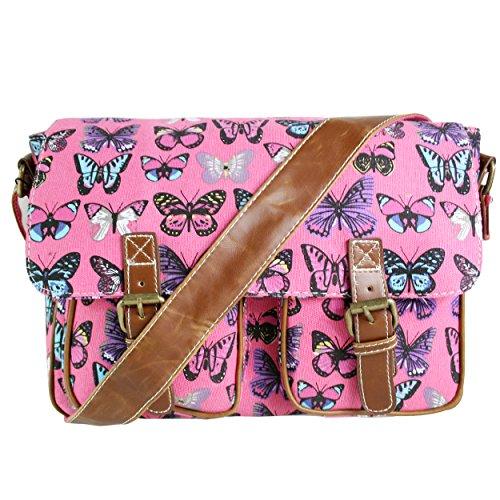 Miss Lulu-Schultertasche, Leinwand, Motiv: Eule, Schmetterling, Elefant, Pferd und Cupcake , - Butterfly Plum (Canvas) - Größe: M