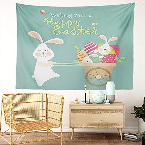 Y·JIANG Tapiz de dibujos animados, conejitos de Pascua, conejo y huevos para el hogar, tapiz grande decorativo, manta ancha para colgar en la pared para sala de estar, dormitorio, 60 x 50 pulgadas