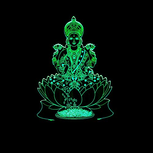 HNXDPIndia riqueza Dios Forma 3D Night Light