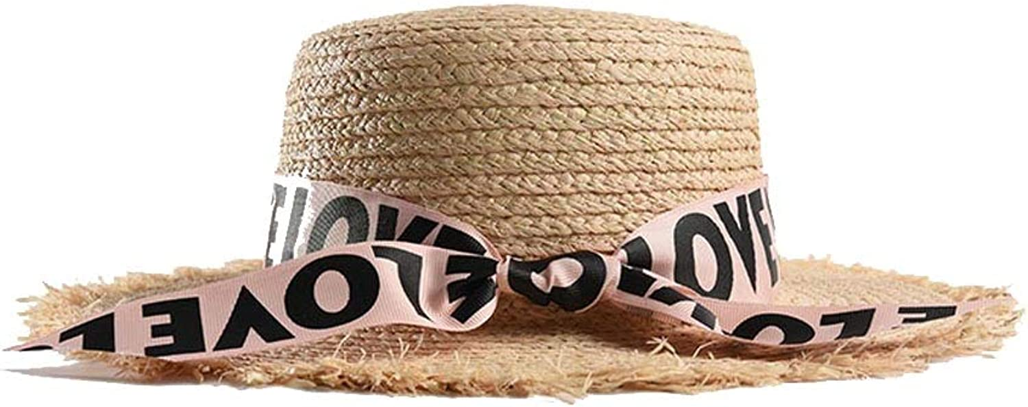Fashion Ladies Sun Hat Summer Lafite Straw Beach Panama Hat Letter Ribbons Raw Edge Flat Top Comfortable (color   Pink, Size   5658CM)