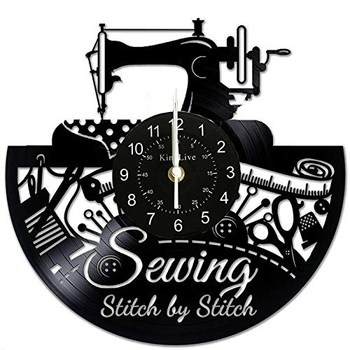 Sewing Machine Vinyl Record Wall Clock Great Idea for Tailor Outfitte Dressmaker