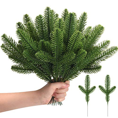 Udefineit 50PCS Christmas Artificial Pine Greenery Floral Picks, Evergreen Faux Fir Branch Spray Xmas Greenery Pines Twig Stems for Holiday Arrangement Wreath Garland Centerpiece Decorations